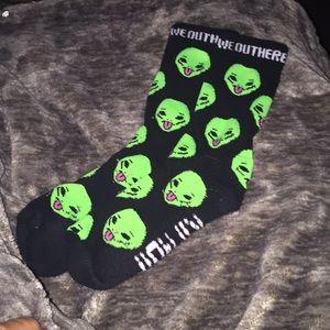 "RipNDip Brand Alien Socks ""we out here"""